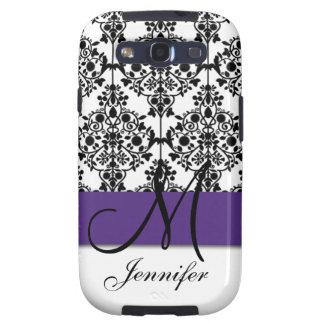 Monogram Dark Purple Black White Floral Damask Galaxy SIII Case