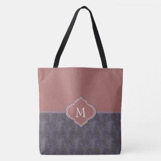 Monogram Dark Purple Blue Rust Waves Tote Bag