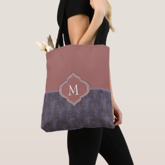 Monogram Dark Purple Blue Rust Waves Tote Bag