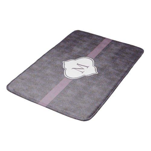 Monogram Dark Purple Grunge Waves Bath Mat