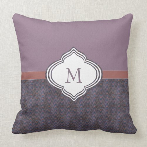 Monogram Dark Purple Grunge Waves Throw Pillow