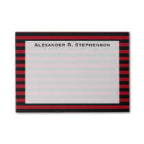 Monogram Dark Red and Black Stripe Post-it Notes