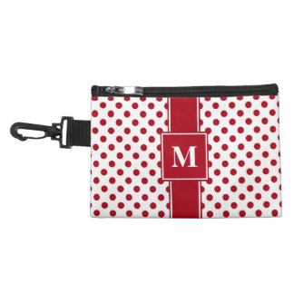Monogram Dark Red on White Polka Dots Accessory Bag
