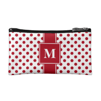 Monogram Dark Red on White Polka Dots Makeup Bag