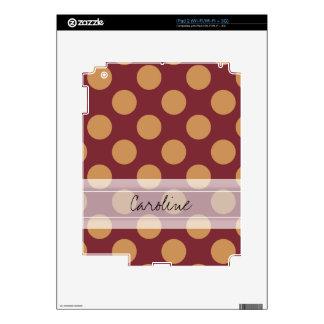 Monogram Dark Red Pale Orange Polka Dot Pattern Decals For The iPad 2