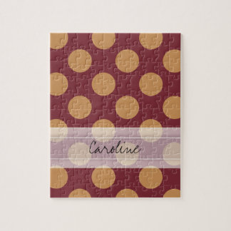 Monogram Dark Red Pale Orange Polka Dot Pattern Jigsaw Puzzle
