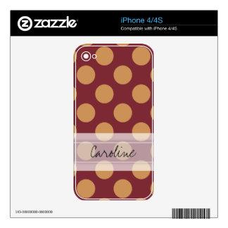 Monogram Dark Red Pale Orange Polka Dot Pattern Skins For The iPhone 4S