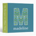 "Monogram Decorative Letter ""M"" Colorful Chevrons Binder"