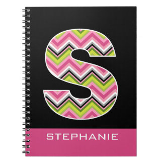 """Monogram Decorative Letter """"S"""" Colorful Chevrons Spiral Notebook"""