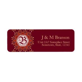 Monogram Deep Red Floral Emblem Address Label