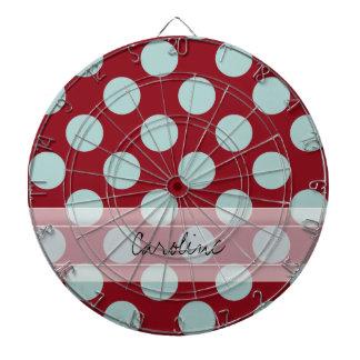Monogram Deep Red Pale Blue Fun Polka Dot Pattern Dartboards