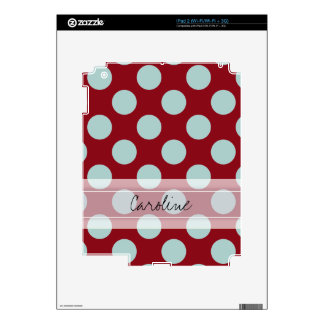 Monogram Deep Red Pale Blue Fun Polka Dot Pattern iPad 2 Decal