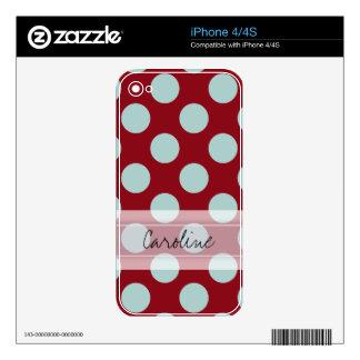 Monogram Deep Red Pale Blue Fun Polka Dot Pattern iPhone 4S Decal