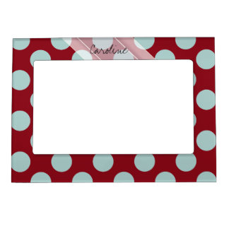 Monogram Deep Red Pale Blue Fun Polka Dot Pattern Magnetic Picture Frame