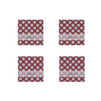 Monogram Deep Red Pale Blue Fun Polka Dot Pattern Stone Magnet