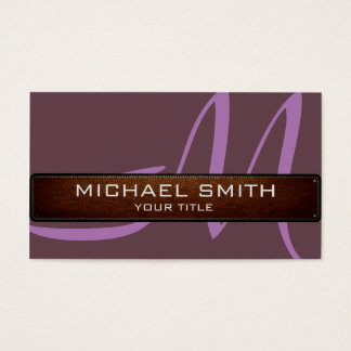 Monogram Deep Tuscan red Modern Leather Look Business Card