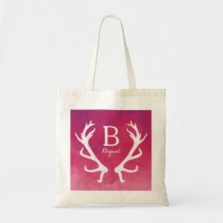 Monogram Deer Antlers Bright Pink Watercolor Tote Bag
