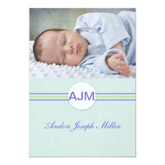 Monogram Delight Blue Photo Birth Announcement