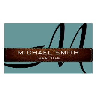 Monogram Desaturated cyan Modern Leather Look Business Card