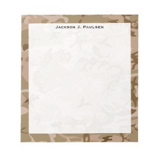 Monogram Desert Beige Brown Green Camo Camouflage Notepad