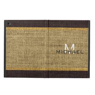 Monogram Desert Burlap Linen Rustic Jute Powis iPad Air 2 Case
