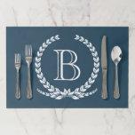 """Monogram design paper placemat<br><div class=""""desc"""">Monogram design with laurel wreath decoration on blue background</div>"""