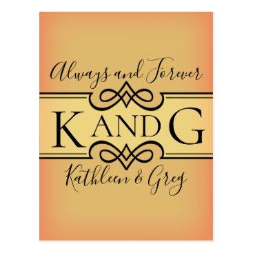 Wedding Themed Monogram design postcard