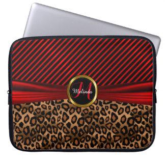 Monogram Design | Red and Gold Leopard Skin Computer Sleeve