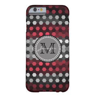 Monogram Desire & Silver Hexagons Pattern Barely There iPhone 6 Case