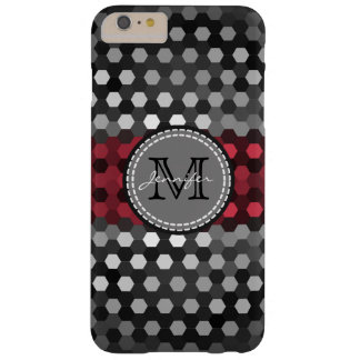 Monogram Desire & Silver Hexagons Pattern Barely There iPhone 6 Plus Case