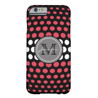 Monogram Desire & White Polka Dots Pattern Barely There iPhone 6 Case