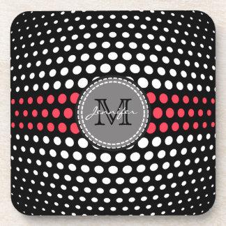 Monogram Desire & White Polka Dots Pattern Drink Coaster