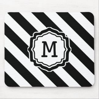 Monogram Diagonal Stripe Design Mouse Pad