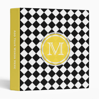 Monogram Diamond Yellow Black And White Binder