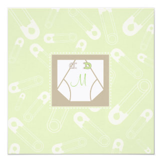 Monogram Diaper and Pins Baby Shower Invitation