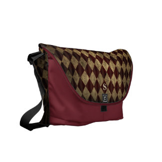 Monogram Distressed Grunge Diamond Argyle Pattern Courier Bags