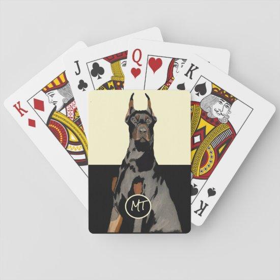 Monogram Doberman Pincher Classic Playing Cards