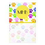Monogram - Dog Paws, Paw-prints - Red Blue Green Stationery