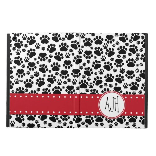 Monogram - Dog Paws, Paw-prints - White Black Cover For iPad Air