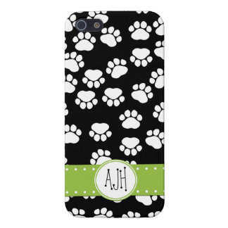 Monogram - Dog Paws, Paw-prints - White Black Cover For iPhone SE/5/5s