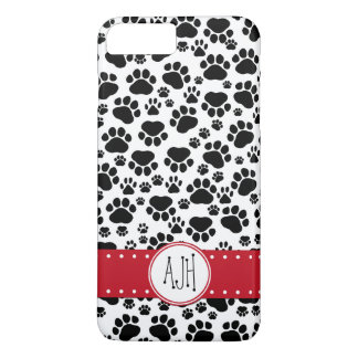 Monogram - Dog Paws, Paw-prints - White Black iPhone 8 Plus/7 Plus Case
