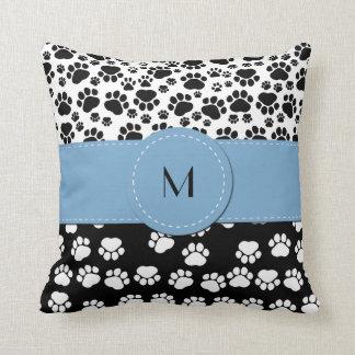Monogram - Dog Paws, Paw-prints - White Black Throw Pillow