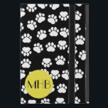 "Monogram - Dog Paws, Traces - Black Yellow Cover For iPad Mini<br><div class=""desc"">This image features dog paws (traces, trails, paw-prints). Colors on this image are black and white (also, there are some yellow details in the design). Dogs are considered to be mans best friend. The term &quot;domestic dog&quot; is generally used for domesticated varieties. The dog may have been the first animal...</div>"