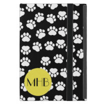 Monogram - Dog Paws, Traces - Black Yellow Cover For iPad Mini