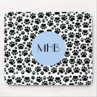 Monogram - Dog Paws, Traces, Paw-prints - Black Mouse Pad