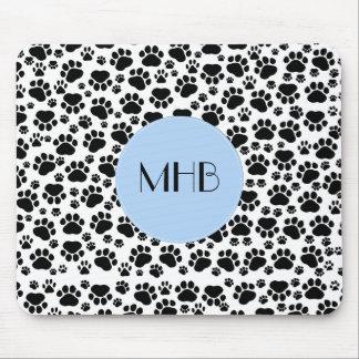 Monogram - Dog Paws, Traces, Paw-prints - Black Mouse Pad