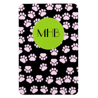 Monogram - Dog Paws, Traces, Paw-prints - Pink Magnet