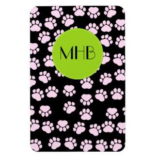 Monogram - Dog Paws, Traces, Paw-prints - Pink Rectangular Photo Magnet