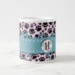 Monogram - Dog Paws, Traces - Pink Black Blue Jumbo Mug