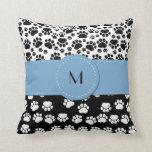 Monogram - Dog Paws, Trails - White Black Blue Throw Pillows
